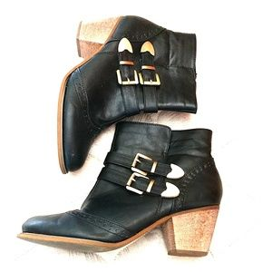LEATHER & BRASS BUCKLE BOOTS